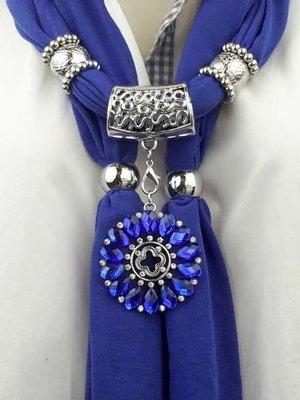 Sjaal + metalen sterbloem, strass, kobalt blauw