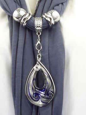 Sjaal met murano in druppel vorm. kleur Grijs.