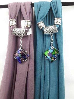 Sjaal + vierkante murano, meerkleurig, goudschilvers