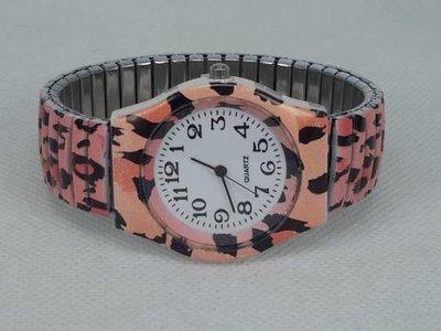 Dames rekband horloge met roze tijger print.