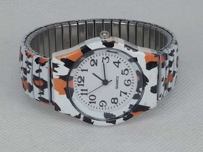 Dames rekband horloge met witte tijger print.