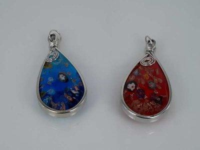 Muranohanger, kleine druppel, bloemetje, goudschilver