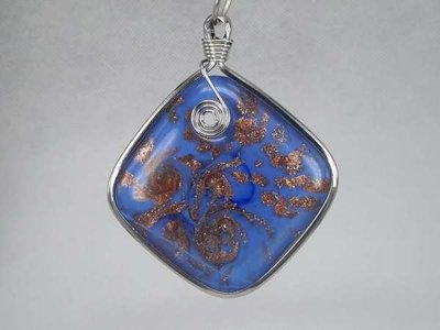 Hanger: blauw-paarse vierkante murano