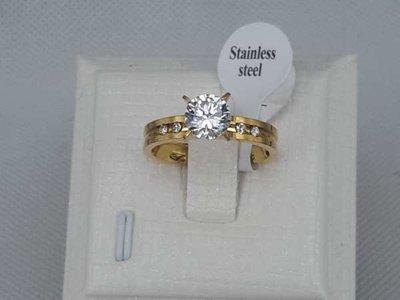 Edelstaal ring, smalle met een zirkonia.