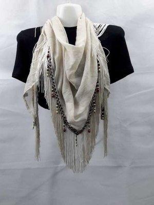Sjaal-doek, bies, franje, houtkralen
