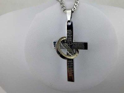 Hanger, edelstaal, kruis met bijbelse tekst en ring