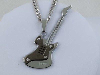 Hanger, edelstaal, zilverkleur bas gitaar met 4 zirkonia.