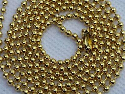 Bolletjes ketting, 2.4 mm dikte edelstaal, goudkleur.