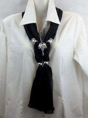 Sjaal met mix koppelstuk en ringen kleur: zwart