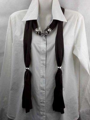 Sjaal met mix koppelstuk en ringen kleur: Donker bruin
