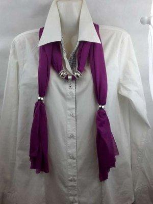 Sjaal met mix koppelstuk en ringen kleur: cyclaam.