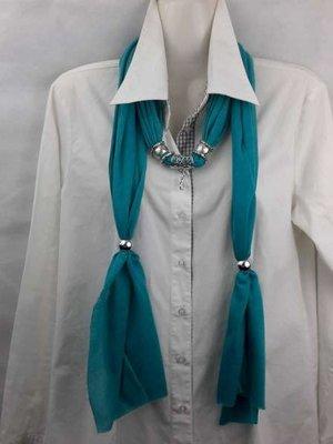 Sjaal met mix koppelstuk en ringen kleur: Heavy groen.