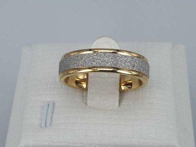 Edelstaal Ringen goudkl, gezilverstraalde band, doos 36st