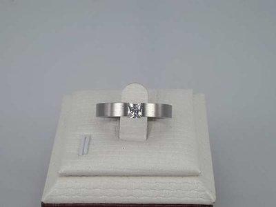 Open edelstaal ringen, verbonden vierkante strassdiamand, doos 36st
