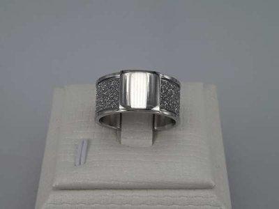 Edelstaal Ringen breed, gezilverstraalde band, zegelring, doos 36st