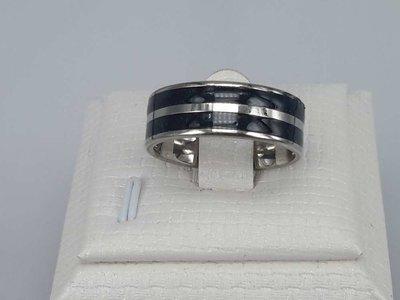 Edelstaal Ringen, dubbel zwarte band, doos 36 st