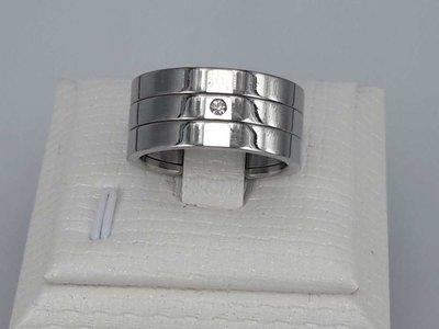 Edelstaal Ringen breed, super kleine zirkonia, doos 36 st