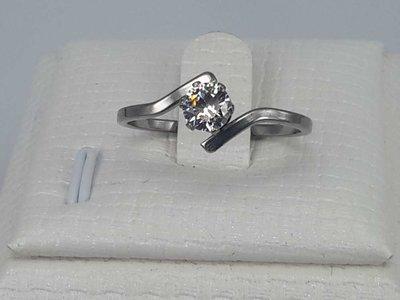Edelstaal Ringen zilverkleurig smal, 4mm zirkonia, doos 36 st