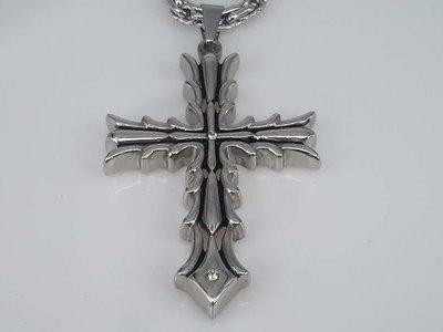 Edelstaal hanger, Gotisch, dik Kruis, strass
