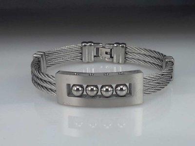 Edelstaal Armband 3 kabel, 4 kogellagers