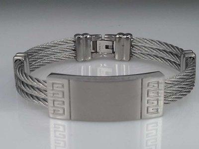Edelstaal Armband 3 kabel, plaat, motief