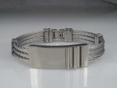 Edelstaal Armband 3 kabel, plaat, 3 staafjes
