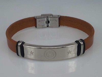 Leren armband lichtbruin, plaat + 6 rechthoek gravure, sluiting edelstaal