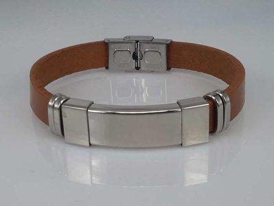 Leren armband lichtbruin, graveerplaat, edelstaalsluiting