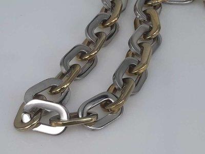 Edelstaal Ketting, ovale platte ring, goud & rvs kleurig