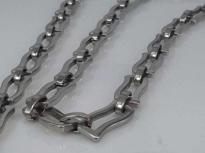 Edelstaal Konings- Armband & Ketting, gegolfde rechthoek
