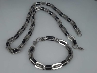 Edelstaal Konings- Armband & Ketting, ovale ringen, dubbele ribbel