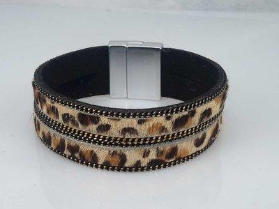 Suede Armband zwart dubbel, luipaardprint bruin, magneetsluiting