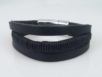 Leren Armband zwart, 3 stroken, touw, magneetsluiting
