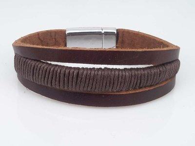 Leren Armband bruin, 3 stroken, touw, magneetsluiting