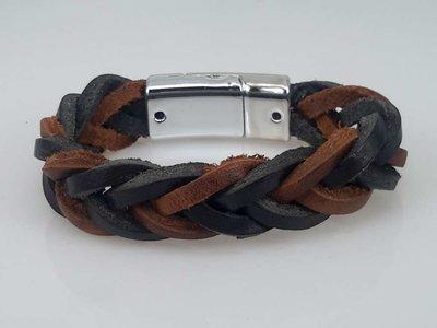 Leren Armband bruin-zwart, gevlochten, magneetsluiting