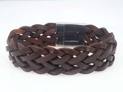 Leren armband breed, bruin, gevlochten, magneetsluiting