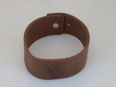 Leren Armband, breed, knoopsluiting