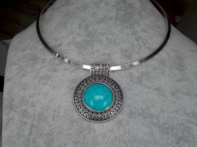 Spanger ketting, Howliet edelsteen rond, turquoise