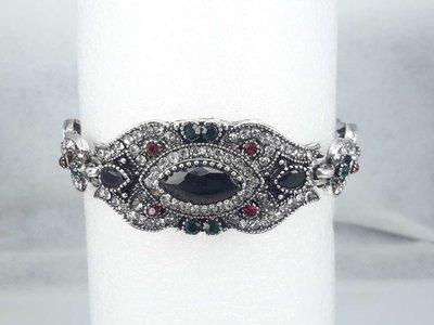 Armband India, zwart kristal, strass