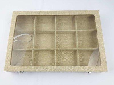 Luxe presentatie box, 12 vaks, Jute