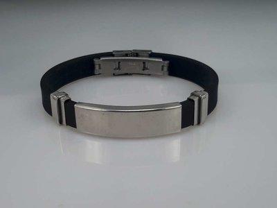 Armband zwart, gebogen plaat, graveerbaar, edelstaalsluiting