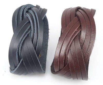 Leren Armband, 3 baans gevlochten, bruin of zwart