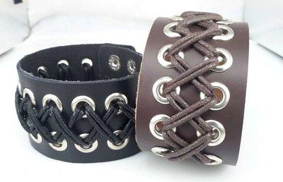Brede Leren Armband, geveterd, bruin of zwart