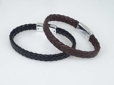 PU Leren Armband, smal, gevlochten, bruin of zwart