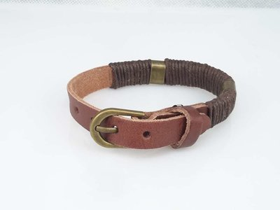 Leren Armband, glad, smal, touw omwikkeld, bruin of zwart
