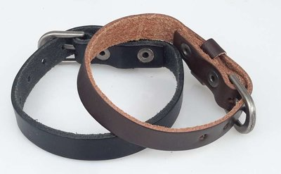 Leren Armband, smal, glad, gesp, bruin of zwart