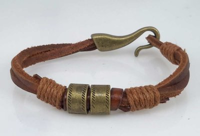 Touw Leren armband, brons ringen, haak, bruin