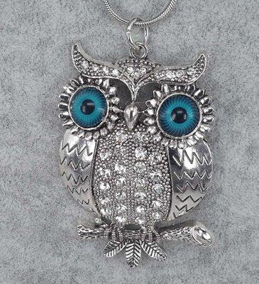 grote Uil op tak, blauwe ogen, witte strass,