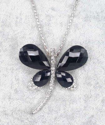 Libelle, zwart facet vleugel, witte strass