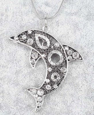 Dolfijn, donker lijf, witte strass